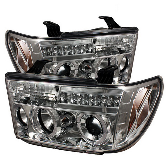2007-2013 Toyota Tundra Sequoia Chrome Housing LED Halo Angel Eyes LED Projector Headlights