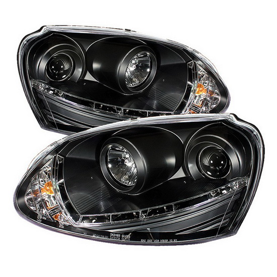 2006-2009 Volkswagen GTI Jetta Rabbit Black Housing Projector Headlights with LED DRL