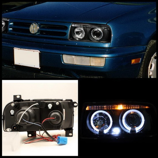 1993-1998 Volkswagen Jetta III Black Housing LED Halo Angel Eyes Projector Headlights
