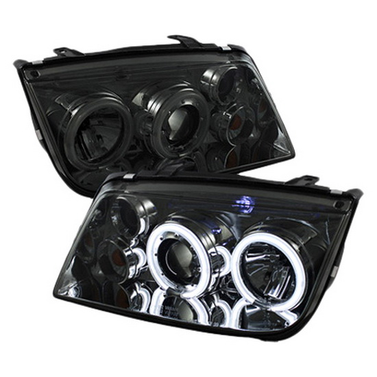 1999-2005 Volkswagen Jetta Smoke Housing CCFL Halo Angel Eyes Projector Headlights