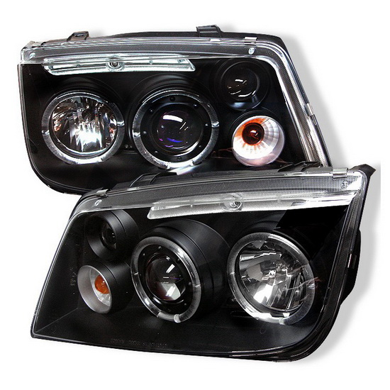 1999-2005 Volkswagen Jetta Black Housing LED Halo Angel Eyes Projector Headlights