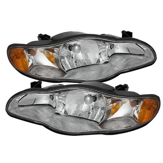 2000-2005 Chevy Monte Carlo LED Halo Angel Eyes Chrome Housing Crystal Headlights
