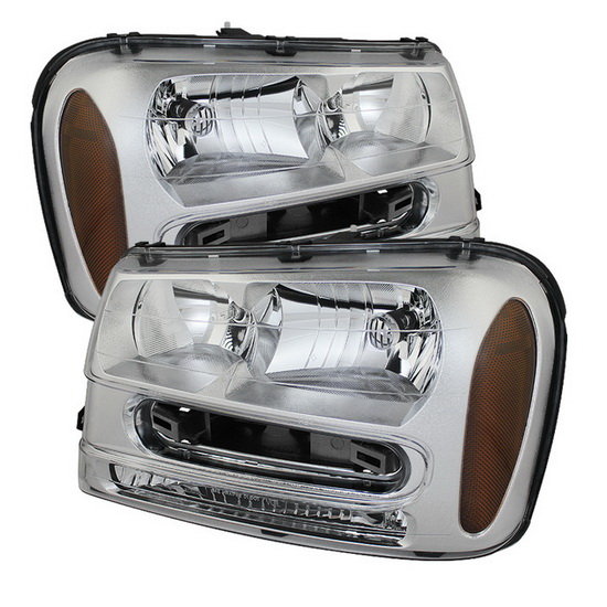 2002-2009 Chevy Trailblazer LED Halo Angel Eyes Chrome Housing Crystal Headlights