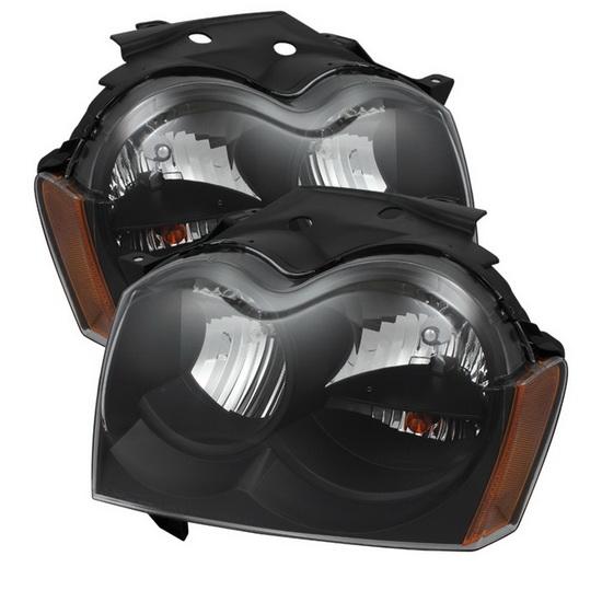 2005-2007 Jeep Grand Cherokee LED Halo Angel Eyes Black Housing Crystal Headlights