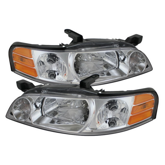 2000-2001 Nissan Altima LED Halo Angel Eyes Chrome Housing Crystal Headlights