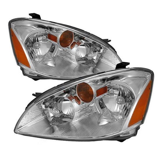 2002-2004 Nissan Altima LED Halo Angel Eyes Chrome Housing Crystal Headlights