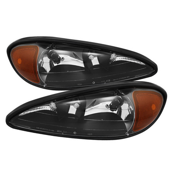 1999-2005 Pontiac Grand Am LED Halo Angel Eyes Black Housing Crystal Headlights