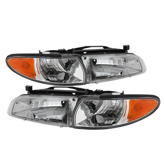 1997-2003 Pontiac Grand Prix LED Halo Angel Eyes Chrome Housing Crystal Headlights