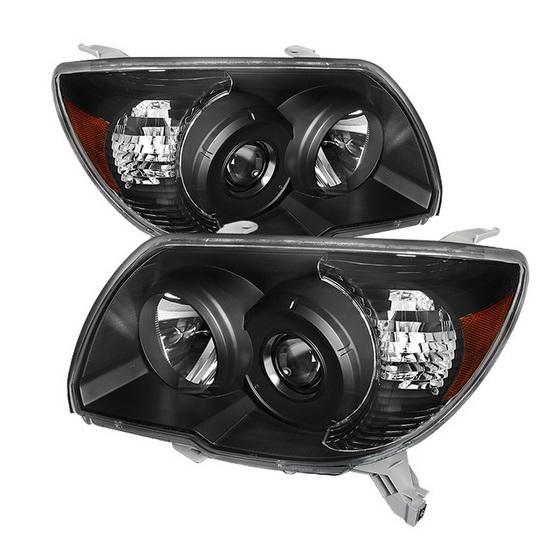 2006-2009 Toyota 4Runner LED Halo Angel Eyes Black Housing Crystal Headlights
