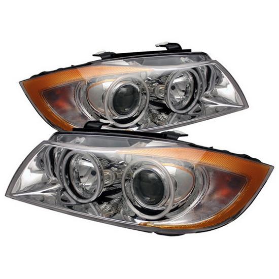 2006-2008 BMW E90 3-Series Sedan CCFL Halo Angel Eyes Chrome Housing Projector Headlights