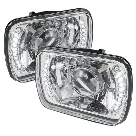 Universal 7x6 Inch Chrome Housing Projector Headlights