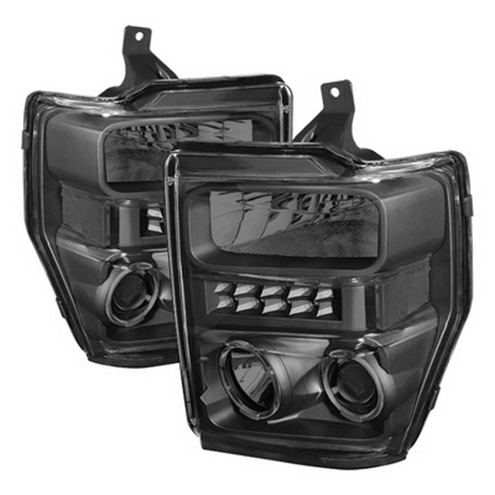2008-2010 Ford F250 350 450 Super Duty LED Halo Angel Eyes Smoke Housing Projector Headlights