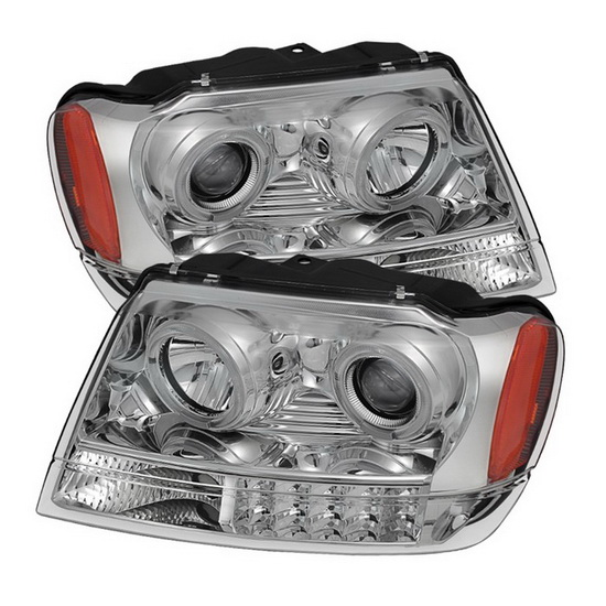 1999-2004 Jeep Grand Cherokee LED Halo Angel Eyes Chrome Housing Projector Headlights