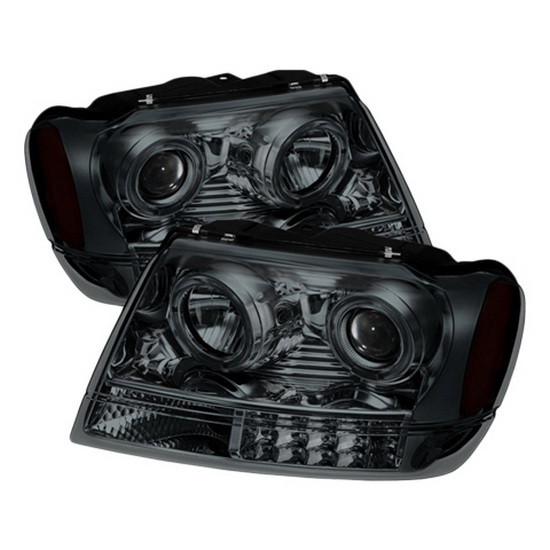 1999-2004 Jeep Grand Cherokee LED Halo Angel Eyes Smoked Housing Projector Headlights