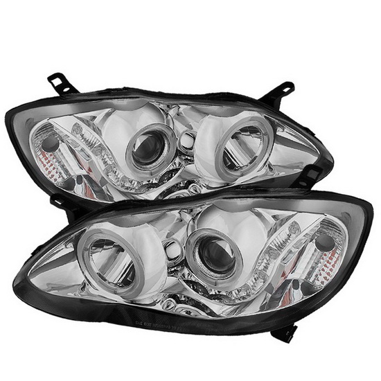2003-2008 Toyota Corolla LED Halo Angel Eyes Chrome Housing Projector Headlights
