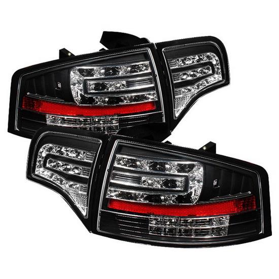 2006-2008 Audi A4 Sedan Black Housing LED Tail Lights