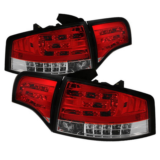 2006-2008 Audi A4 Sedan Red Clear Housing LED Tail Lights