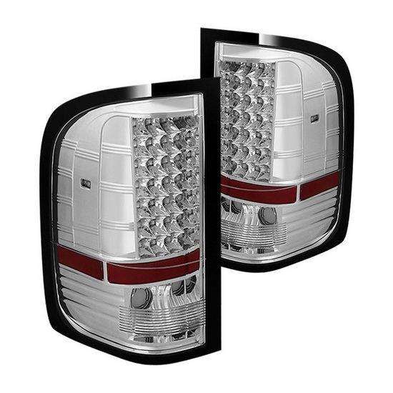 07-14 Chevy Silverado Chrome Housing LED Tail Lights