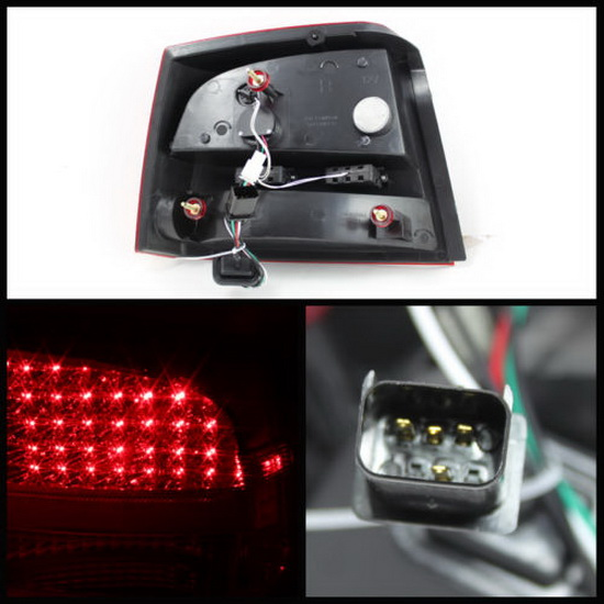 06-08 Dodge Charger Red Clear Housing LED Tail Lights