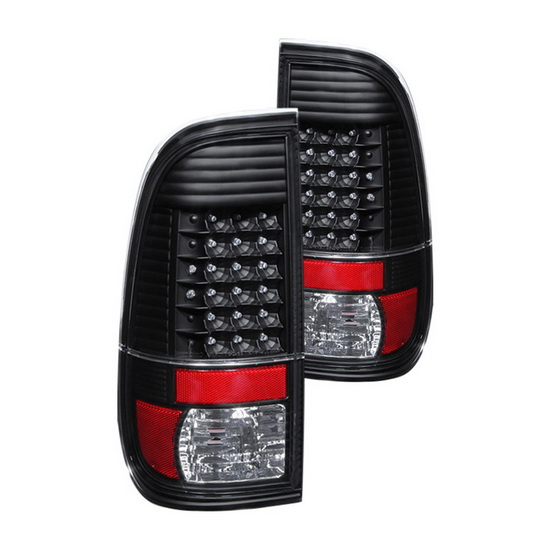 97-03 Ford F150 Styleside Black Housing LED Tail Lights