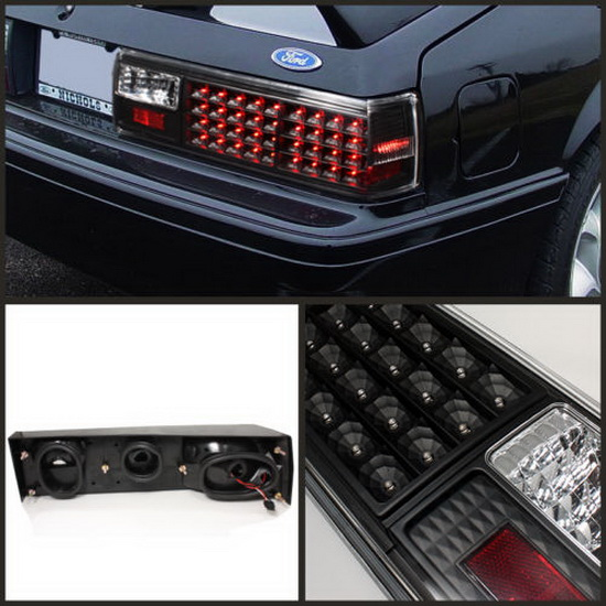 87-93 Ford Mustang Black Housing LED Tail Lights