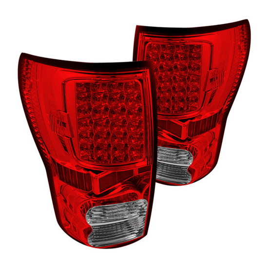 07-13 Toyota Tundra Red Clear Housing LED Tail Lights
