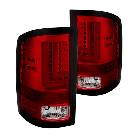 14 15 Gmc Sierra Red Clear Housing Aftermarket Led Taillights