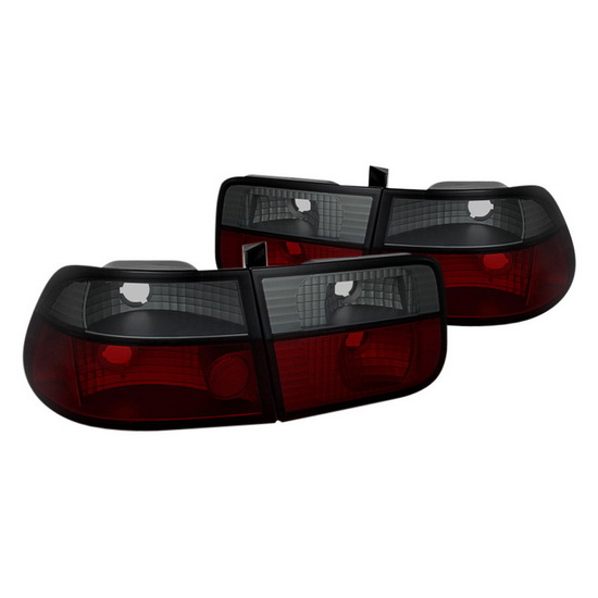 96-00 Honda Civic 2Dr Red Smoke Housing Crystal Tail Lights