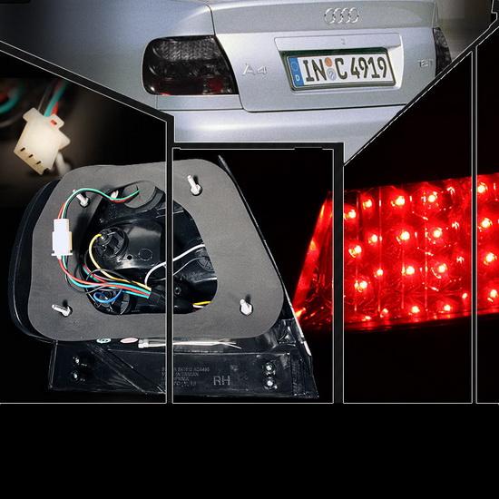 1996-2001 Audi A4 Smoke Housing LED Tail Lights