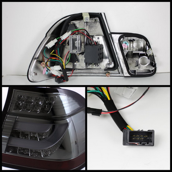 2002-2005 BMW E46 3-Series Sedan Light-Bar Style Smoke Housing LED Tail Lights