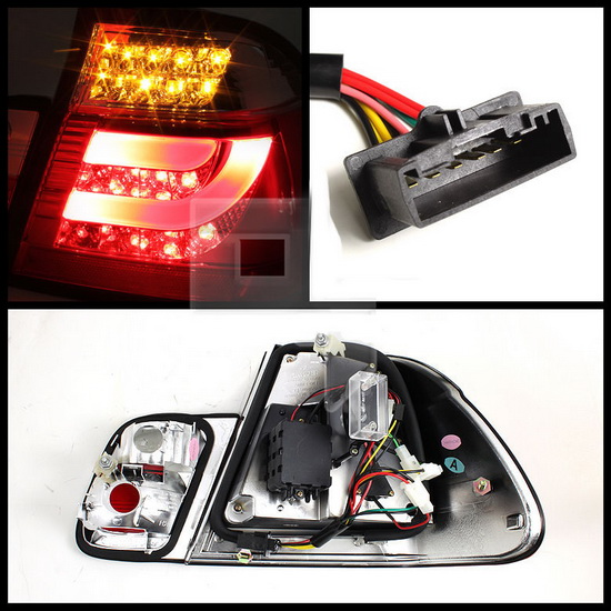 1999-2001 BMW E46 3-Series Sedan Light-Bar Style Black Housing LED Tail Lights