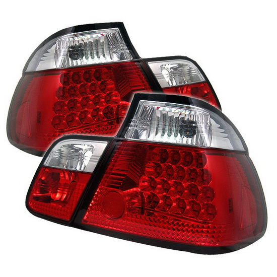 1999-2001 BMW E46 3-Series Sedan Red Clear Housing LED Tail Lights