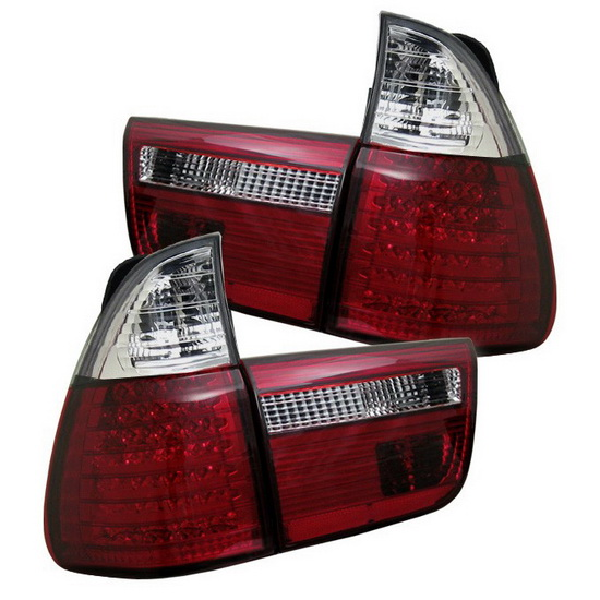 2000-2006 BMW E53 X5 4PCS Red Clear Housing LED Tail Lights