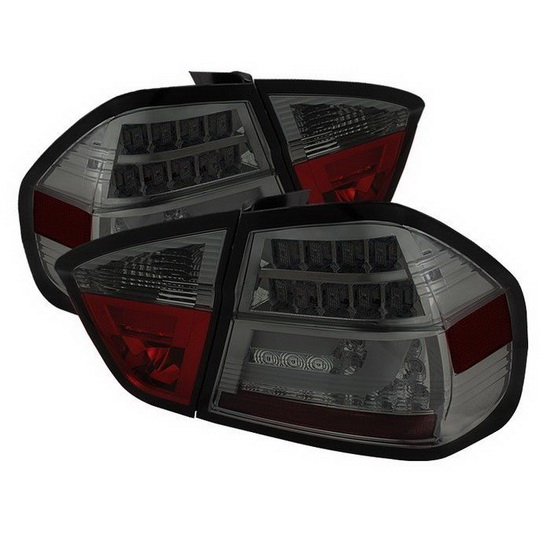 2006-2008 BMW E90 3-Series Sedan Light-Bar Style Smoke Housing LED Tail Lights with LED Turn Signal Blinkers