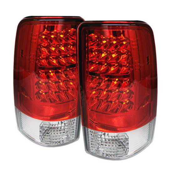 2000-2006 Chevy Suburban Tahoe 1500 2500 Red Clear Housing LED Tail Lights