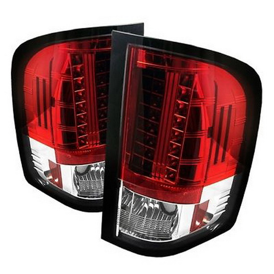 2007-2014 Chevy Silverado Red Clear Housing LED Tail Lights