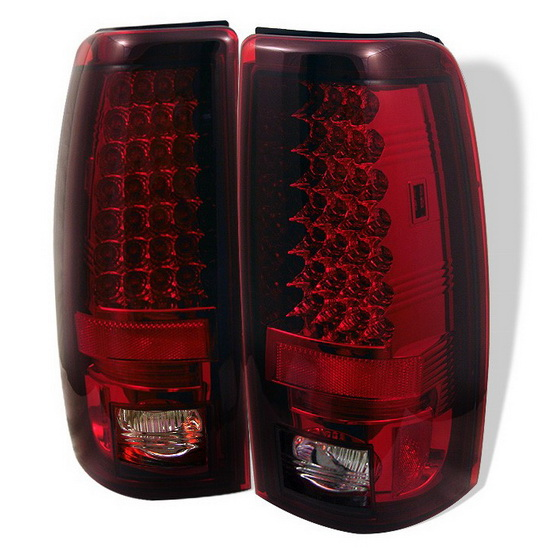1999-2002 Chevy Silverado 1500 2500 Red Clear Housing LED Tail Lights