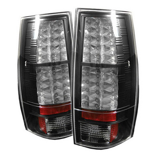 2007-2014 Chevy Suburban Tahoe Black Housing LED Tail Lights