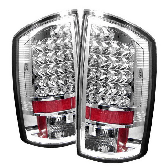 2007 2008 dodge ram 1500 2500 3500 chrome housing led tail lights. Black Bedroom Furniture Sets. Home Design Ideas