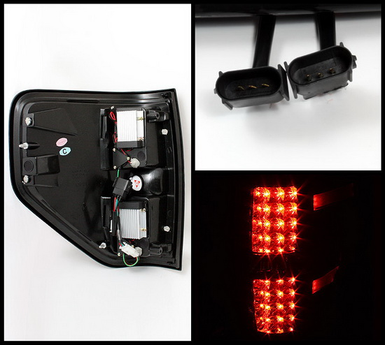 2009-2012 Ford F150 Styleside Smoke Housing LED Tail Lights