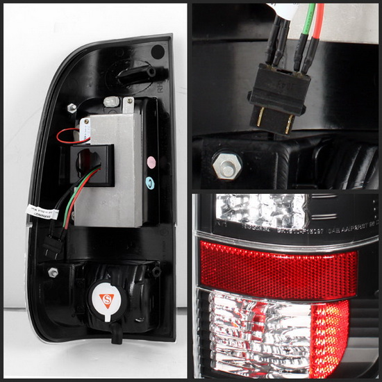 2008-2013 Ford F250/350/450/550 Super Duty V2-Upgraded Black Housing LED Tail Lights