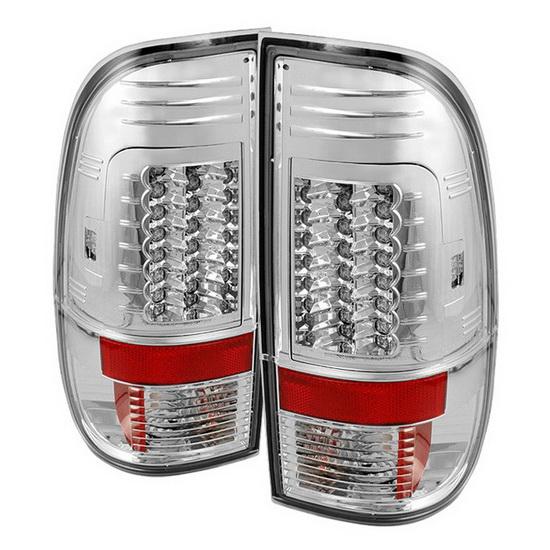 2008-2013 Ford F250/350/450/550 Super Duty V2-Upgraded Chrome Housing LED Tail Lights