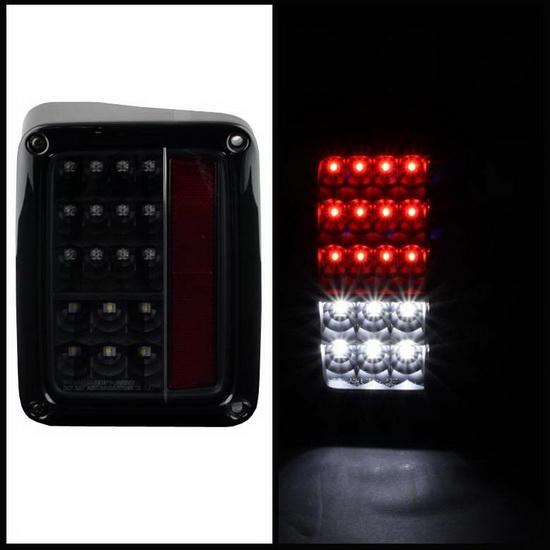 2007-2015 Jeep Wrangler Black Housing LED Tail Lights