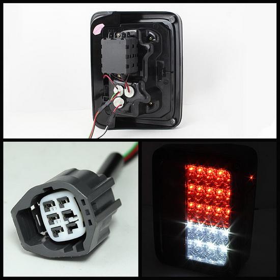 2007-2015 Jeep Wrangler Chrome Housing LED Tail Lights