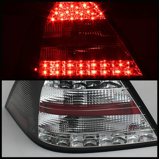 SPY 111 MBZC05 LED BK 02 05 07 mercedes w203 c class sedan black housing led tail lights  at gsmx.co
