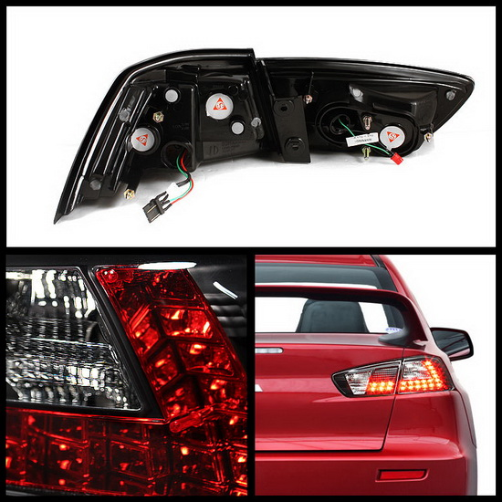 2008-2012 Mitsubishi Lancer/Evolution X Black Housing LED Tail Lights