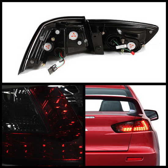 2008-2012 Mitsubishi Lancer/Evolution X Smoke Housing LED Tail Lights
