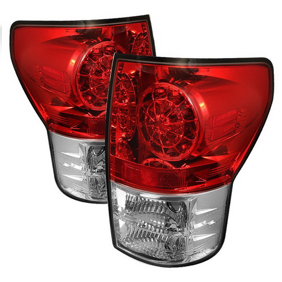 2007-2012 Toyota Tundra Red Clear Housing LED Tail Lights