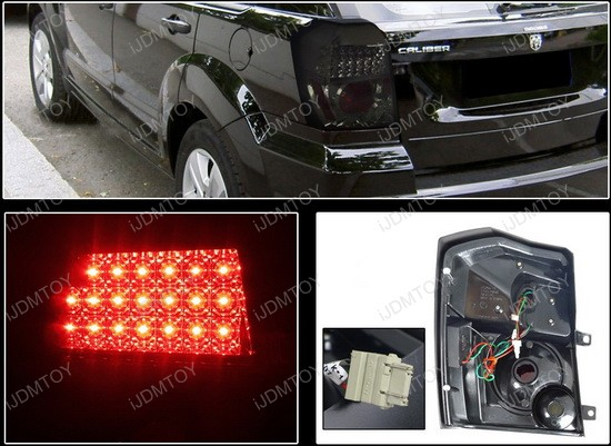 07-08 Dodge CALIBER R/T SE SXT SRT-4 Smoke Lens LED Tail Lights