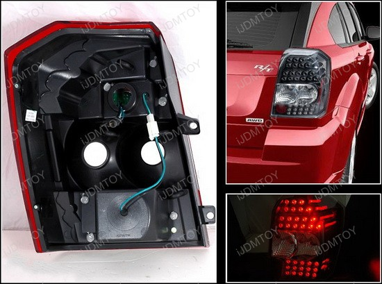 2007-2009 Dodge CALIBER Black Housing Euro Style LED Tail Lights